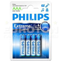 PHILIPS BATERIJA LR03 (AAA) eXtreme Life ULTRA ALKALINE + 4/1