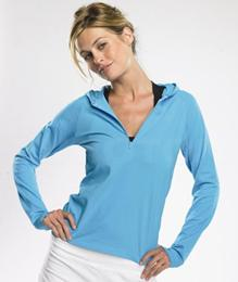 LADIES COTTON SPANDEX HALF-ZIP HOODED PULLOVER