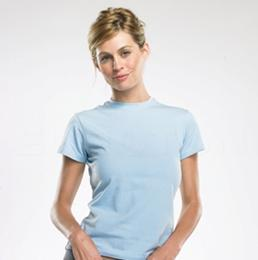 LADIES COTTON/SPANDEX SHORT SLEEVE CREW NECK T-SHIRT